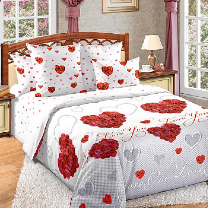 Постельное белье перкаль 2 спальное на резинке - Вечная любовь