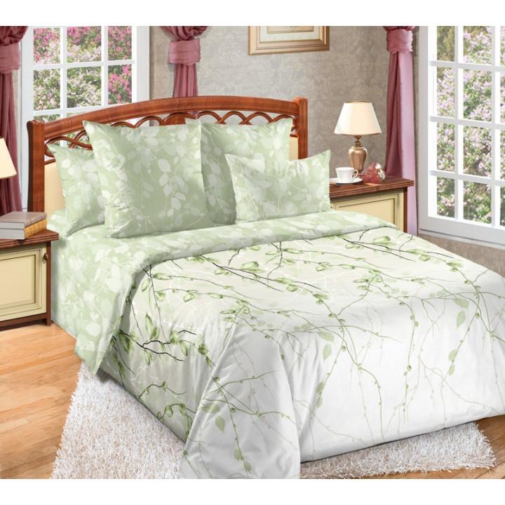 Постельное белье перкаль 2 спальное на резинке 160х200х25 - Весенний шепот