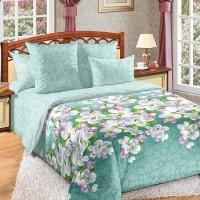 Постельное белье перкаль 2 спальное на резинке - Яблони в цвету