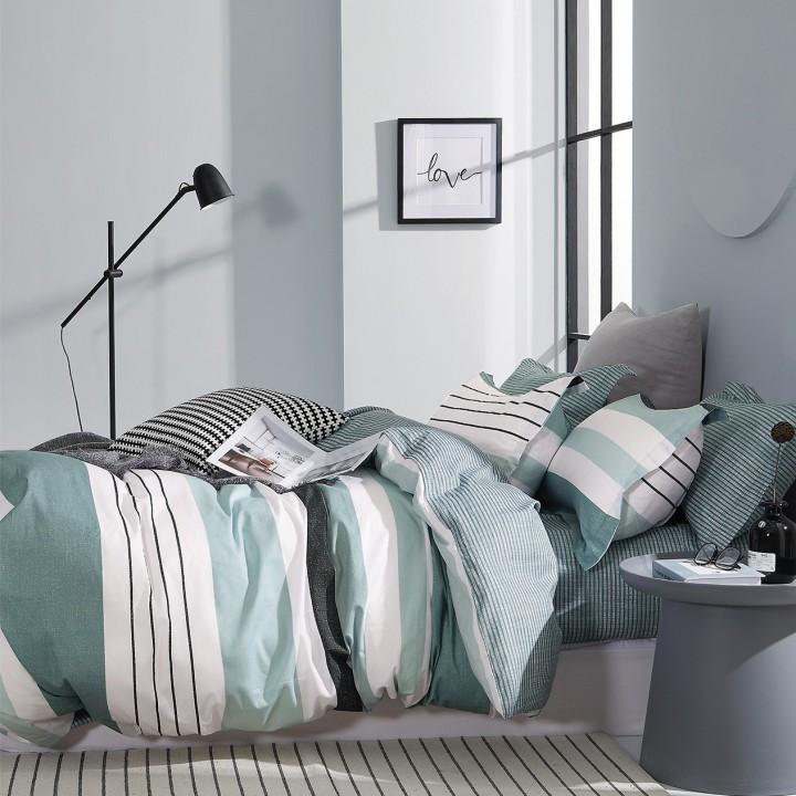 Постельное белье сатин 2 спальное с простыней на резинке 160х200 - DA-25