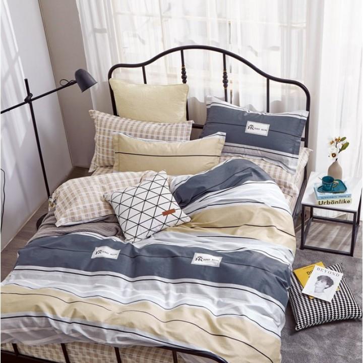 Постельное белье сатин 2 спальное с простыней на резинке 180х200 - OT-015