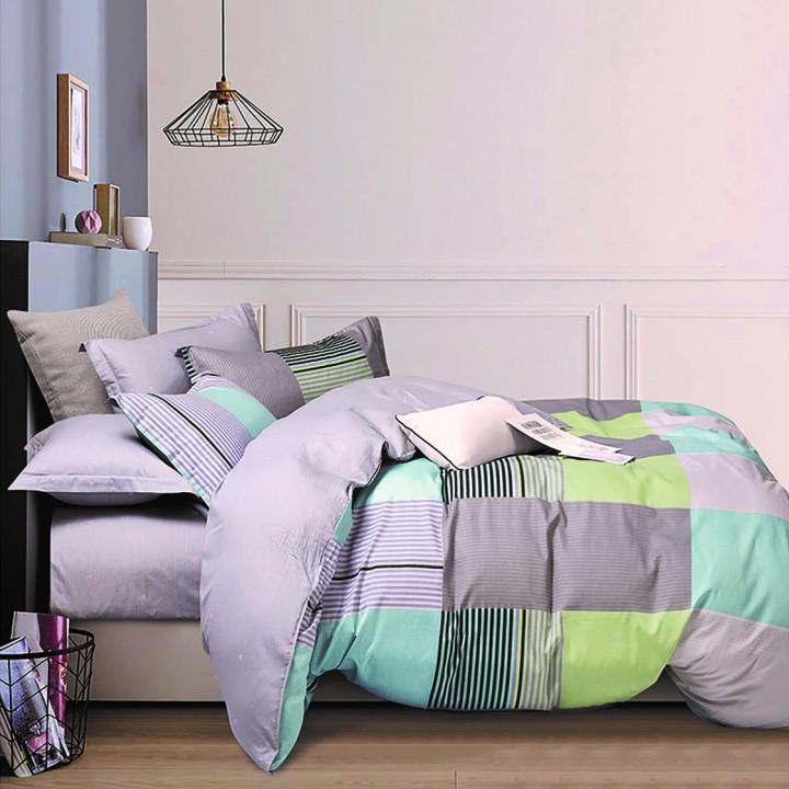Постельное белье сатин 2 спальное с простыней на резинке 160х200 - PT-1942