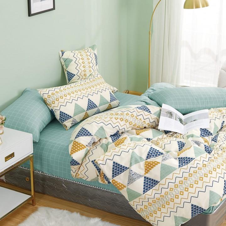 Постельное белье сатин 2 спальное с простыней на резинке 160х200 - PT-2104