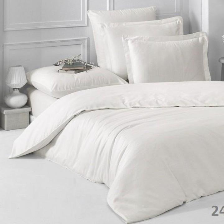 Постельное белье сатин  1.5-спальное, однотонное белое