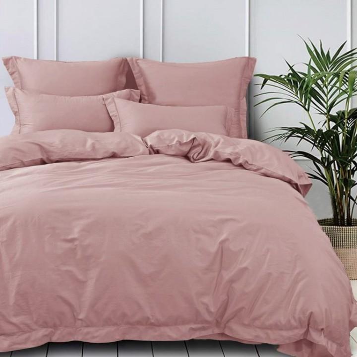 Постельное белье сатин однотонный, 1.5-спальный, L-1512. Пыльная роза
