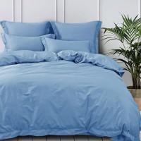 Постельное белье сатин 2 спальное с простыней на резинке 160х200+25см Голубой