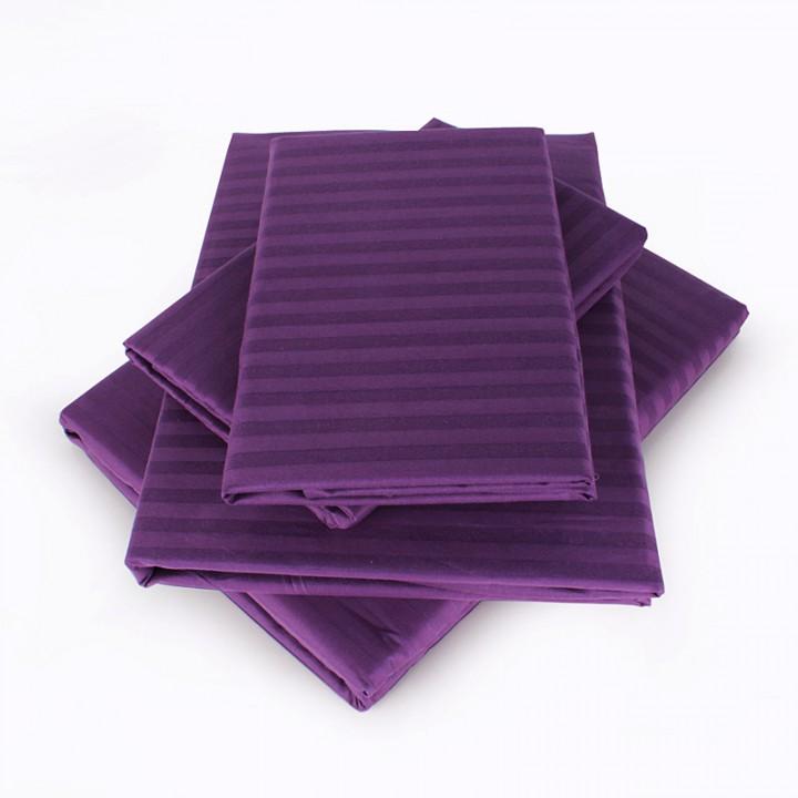Постельное белье сатин-страйп премиум 2спальное фиолетовое