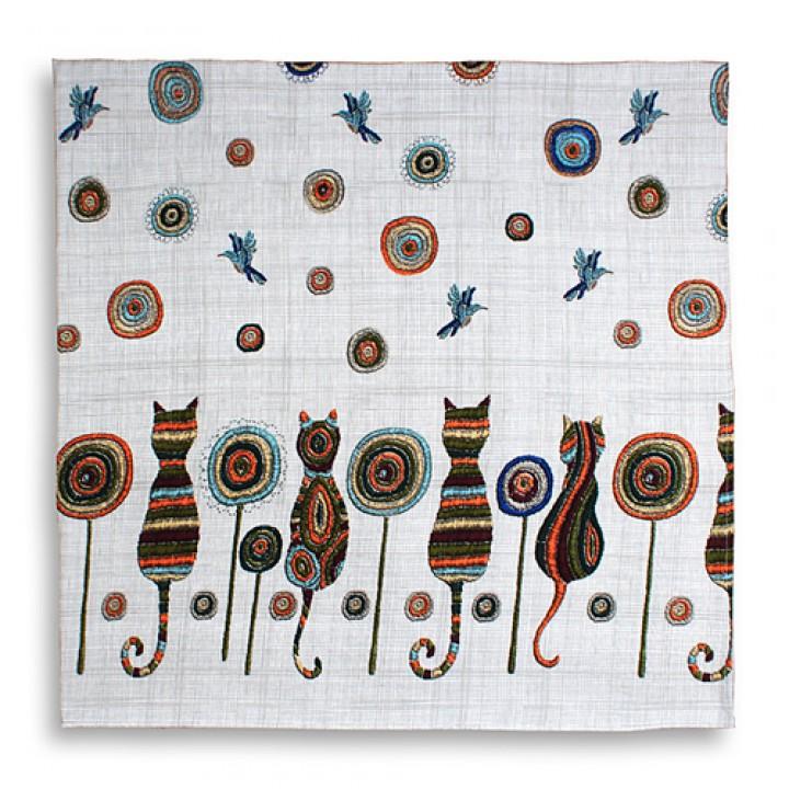 Скатерть рогожка 150х250, кошки